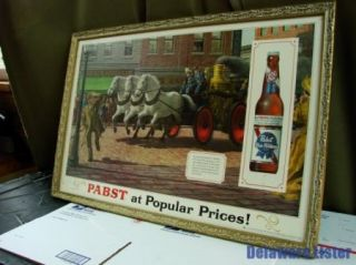 PBR Pabst Blue Ribbon Fire Engine Horse Team Beer Bottle P 603 Framed Sign