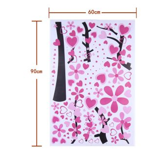 Huge Pink Tree Heart Shape Flower Wall Stickers Art Paper Decals Home Decor