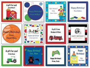 24 Custom Personalized Boys Birthday Gift Cards Gift Bag Tags