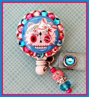Hello Kitty Sugar Skull Retractable ID Reel Badge Holder with Charm
