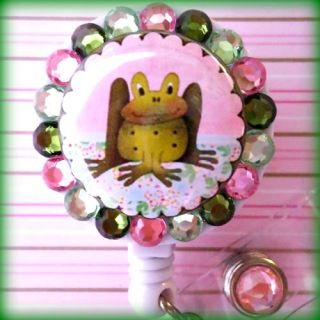 Frog Retractable ID Reel Badge Holder