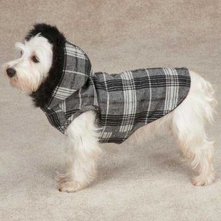 Zack Zoey Park Avenue Dog Coat Jacket Hood Hooded Black Fur Trim Coats Pet
