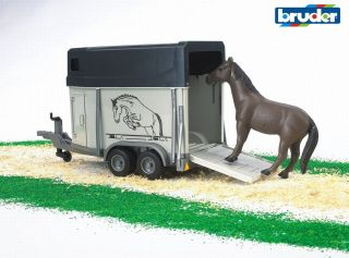 Horse Trailer with Horse Vehicle Toy by Bruder Trucks 02028