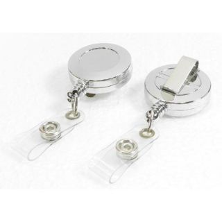 Retractable Chrome ID Badge Reel Pull Reels Clip