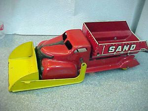 "Antique Toy Marx Sand Gravel Dump Truck with Loader VG 16"" LG"