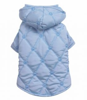 Quilted Pastel Dog Coat Jacket Hooded w Hood Pink Blue