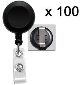 Lot of 100 Pcs Black Retractable Reel ID Badge Holder USA Wholesale Belt Clip