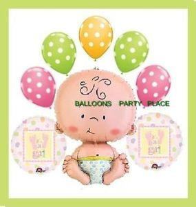 Baby Shower Balloons Pink Green Polka Dots Girl
