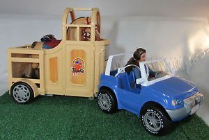 Barbie Jeep Horse Trailer and New Blazin' Trails Horse and Rider
