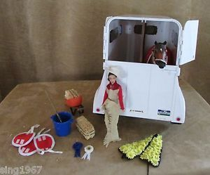 Breyer Two Horse Trailer Lot Rider Includes Brown Horse White Tow Woman Hay