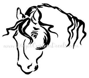 Large Horse Trailer Decal Sticker Pretty Horse Head You Choose Color