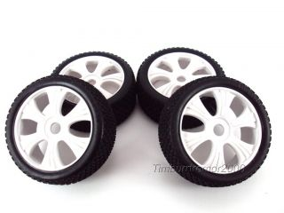 New OFNA BUGGY8 Pre Glued White 6 Spoke Wheels Tires 1 8 Buggy 17mm Hub