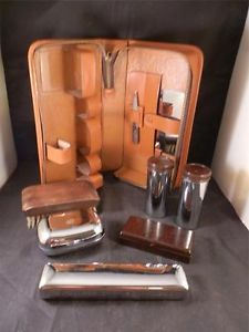 Vintage Mens Travel Set Grooming Kit Leather Case Chrome Bakelite Accessories