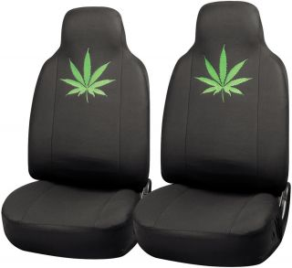 2pc Green 420 Weed Marijuana Leaf Integrated High Back Front Truck Seat Cover