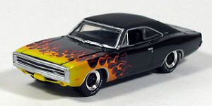 Greenlight 1970 Dodge Charger Black Flames Hot Wheels and Tires 1 64 Diecast