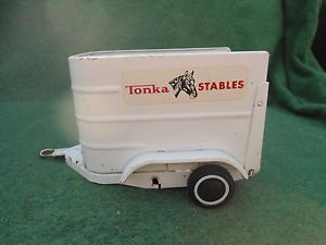 Vintage White Pressed Steel Tonka Stables Horse Trailer