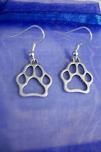 Antique Silver Petite Paw Print Earrings Cat Dog Vet Pet SPCA
