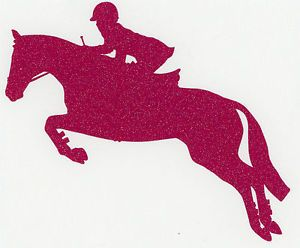 Med Pink Glitter Hunter Jumper Jumping Horse Equine Pony Rider Trailer Decal