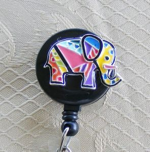ID Badge Tag Glass Key Retractable Reel Lanyard Good Luck Patchwork Elephant