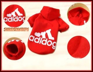 Plush Old School Adidas Style Adidog Pet Dog Coat Hoodie Jacket Pick Size Color