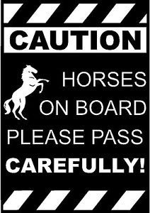 Caution Horses Horse Trailer Decal Decals Stickers