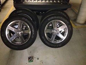 "Used Set 4 '09 Dodge RAM 1500 Chrome Clad 20"" Wheels Rims Goodyear SRA Tires"