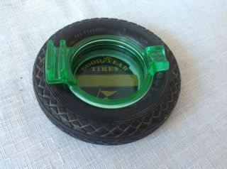 Vintage Antique Goodyear Tires Green Depression Glass Ashtray