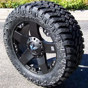 "20"" Black XD Rockstar Wheels Rims 33"" Nitto Trail Grappler Chevy Silverado 1500"
