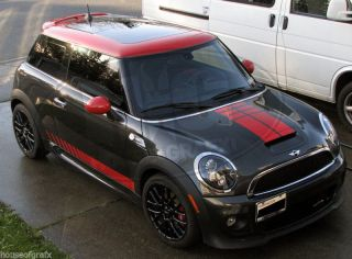 Mini Cooper Countryman Coupe Strobe Hood Rocker Decals Stripes Stripe Graphics