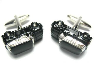 New Black Mini Cooper British Union Jack Flag Cufflinks
