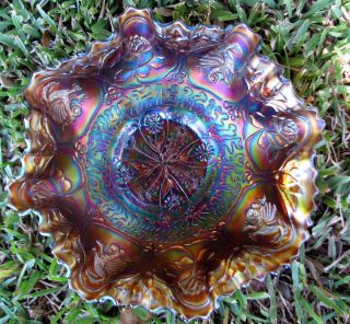 Fenton Amethyst 3 in 1 Dragon and Lotus Carnival Glass Bowl Circa 1915