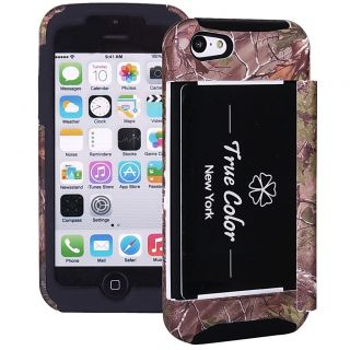 Real Tree Forest Camo Mossy Oak Credit Card Wallet Case Cover for iPhone 5c