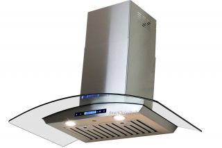 "New 30"" Kitchen Stainless Steel Glass Wall Mount Vent Range Hood w Remote"