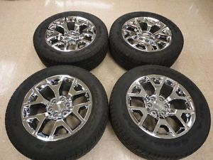"2014 GMC Sierra 20"" Chrome Wheels Rims Tires Goodyear Wrangler P275 55R20"