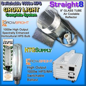 "1000 Watt HPS Grow Light Glass Cool Tube 8"" Hood Sodium"