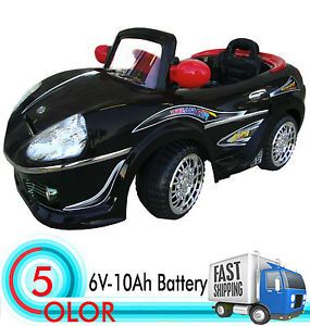 Jet Black Kids Ride on Car Power Car Wheels R C Sporty Remote Car 6V Battery Car
