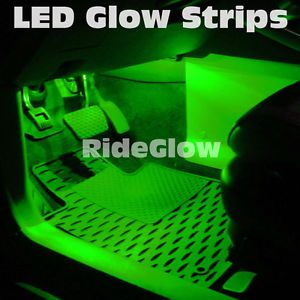 Green LED Interior Lights Neon Glow Strips Under Dash Seats Hood Trunk K