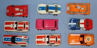 Aurora AFX Slot Car Racing Runners Lot 9 Bodies Chassis Hoods Roofs Trunks 1 64