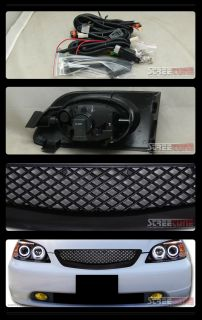 Black Mesh Front Hood Grill Grille Bumper Fog Light Yellow 01 03 Honda Civic