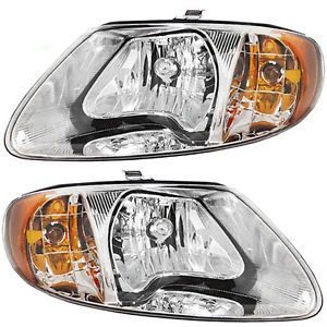 New Pair Set Headlight Headlamp Lens Housing Assembly Dot Chrysler Dodge Van