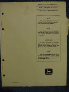 John Deere 50 Side Mounted Sickle Bar Mower Parts Catalog Manual