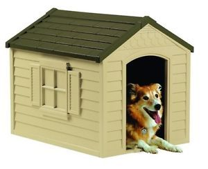Suncast Durable Resin All Weather Large Outdoor Pet Dog House Indoor Shelter