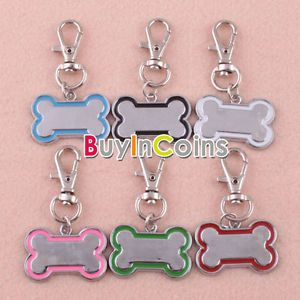 Cute Stainless Steel Pet Dog Cat ID Metal Bone Shaped Tag Medium Name Tags
