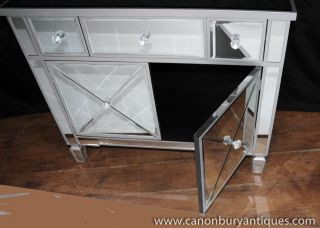 Mirrored Chest Drawers Cabinet Art Deco Mirror Furniture