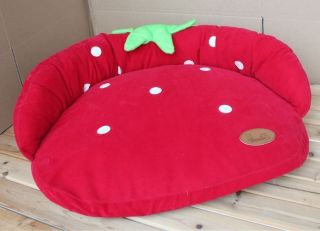 New Red Strawberry Soft Pet Dog Cat Sofa Bed House Kennel Medium