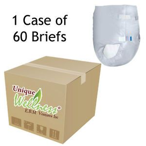 60 XL Adult Disposable Briefs Diapers Heavy Duty Extra Large Case Incontinence