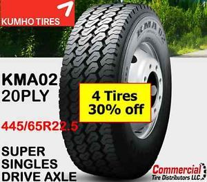 4 Tires Kumho KMA02 445 65R22 5 Wide Base Semi Truck Super Single Tire Singles