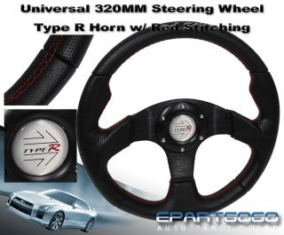 320mm JDM 6 Bolt Firm Grip Steering Wheel Black PVC Leather with Red Stitching
