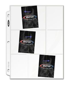 40 BCW Side Loading 9 Pocket Baseball Trading Card Album Pages Binder Sheets