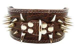 "Leather Dog Collar Spiked 3"" Pit Bull 17"" 20 5"" Amstaff"